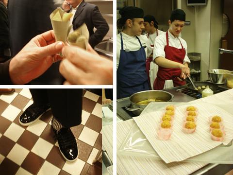 l'aperitivo nella cucina del Sadler (e le calze a righe di Claudio)