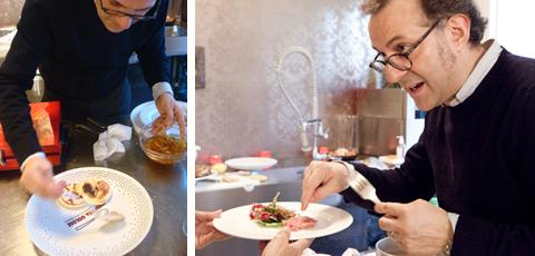© Un pensiero di Massimo Bottura per Paolo Marchi: Tigelle al prosciutto crudo, salame nostrano e mostarda di mele campanine (foto mia) - Massimo spiega come cuoce il bollito sottovuoto (foto di G. Frassi)