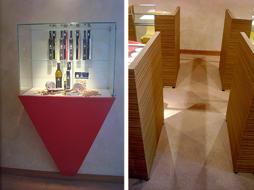 © IFSE, la piramide rovesciata della teca e nel gioco d'ombre in Aula degustazioni