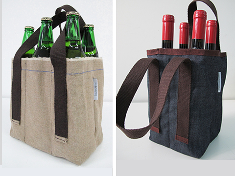 wine bag Portamivia in canapa e in tessuto jeans, di Tablecloth