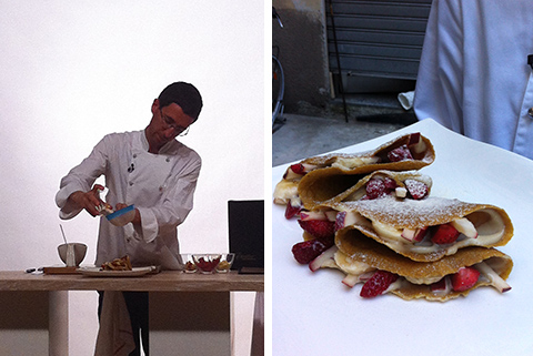© Cruditaly, Vito Cortese prepara le crêpes sul set, e il piatto finito
