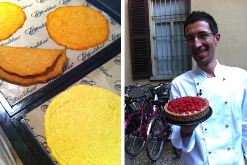 © Cruditaly, le crêpes sulle teglie dell'essiccatore e Vito Cortese con la crostata alla frutta
