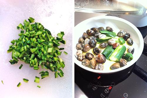 © Passaggi ricetta: brunoise di zucchine e cottura delle vongole con la buccia delle zucchine