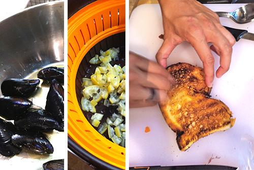 """©Passaggi ricetta: moscioli puliti e senza barbe - canditura del limone - """"strofinio"""" d'aglio su bruschetta"""