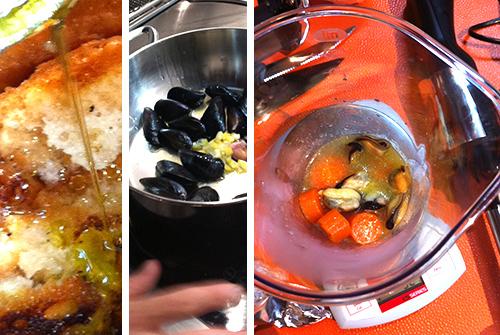 """©Passaggi ricetta: ammollo bruschetta - cottura moscioli col limone candito - """"frullo"""" della salsa di carote)"""