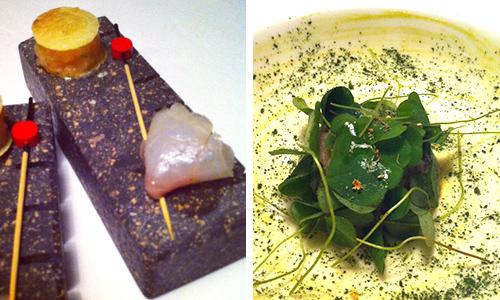 Coregone marinato e tartare di trota (foto sn), Crudità di temolo. chef Alessandro Gilmozzi El Molin | ©foto Sandra Longinotti