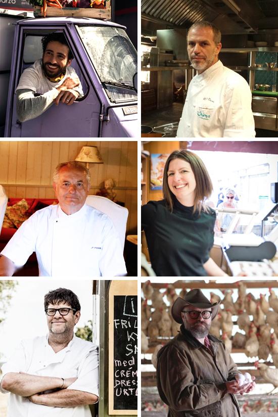 Le Grand Foodingchi cucina quest'anno a Le Grand Fooding (da sinistra a destra e dall'alto in basso: Franco Aliberti, Mohamed Ourad, Jean-François Ferrié, Kristin Frederick, Bernard Chesneau, Paolo Parisi)