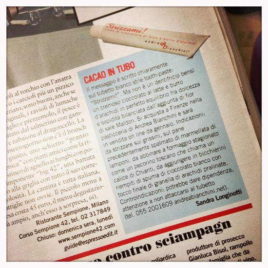 il mio articolo su Strizzami di Andrea Bianchini pubblicato su l'Espresso del 20 gennaio 2011 (©Sandra Longinotti)