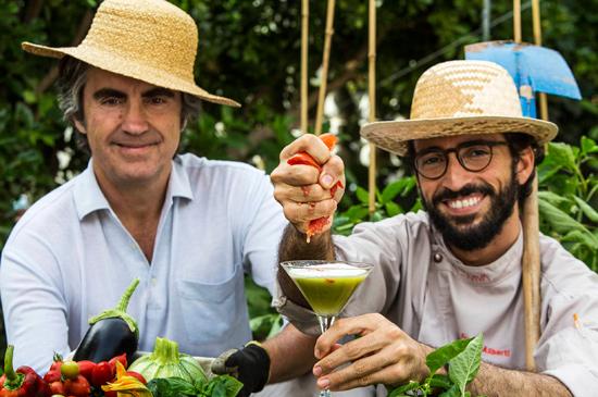 Andrea Muccioli, Franco Aliberti e il cocktail Green go, Ewiva | ©Giorgio Salvatori