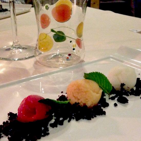 I 3 sorbetti di pre-dessert, by Deborah Corsi a La Perla del Mare | ©Sandra Longinotti