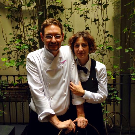 lo chef Marco Rossi e la sommelier Elisa Campa del ristorante La Mugnania di Ivrea   ©Sandra Longinotti