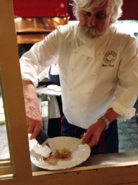 Rosticciana di maiale bollita nippo-fiorentina con oboro bianco, chef Fabio Picchi | ©Sandra Longinotti