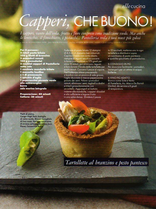 il mio servizio di cucina sui Capperi pubblicato su Elle di settmbre 2010