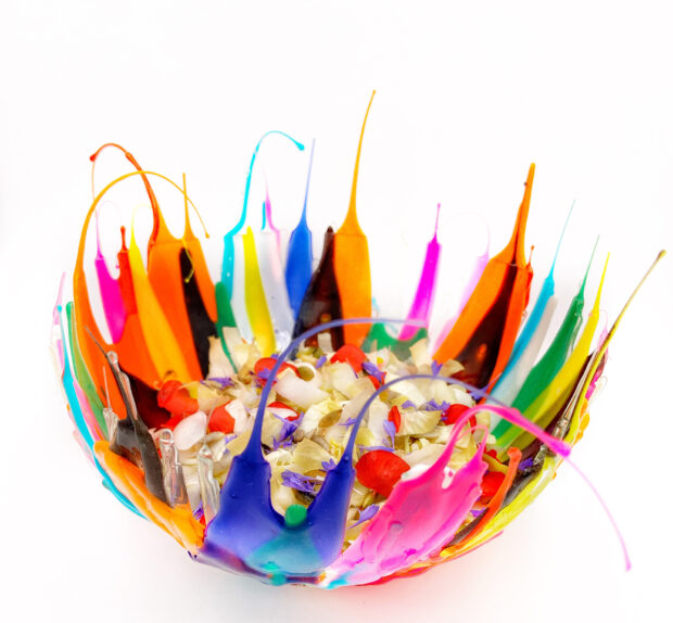 Insalata di indivia, semi e fiori   ©foto Sandra Longinotti