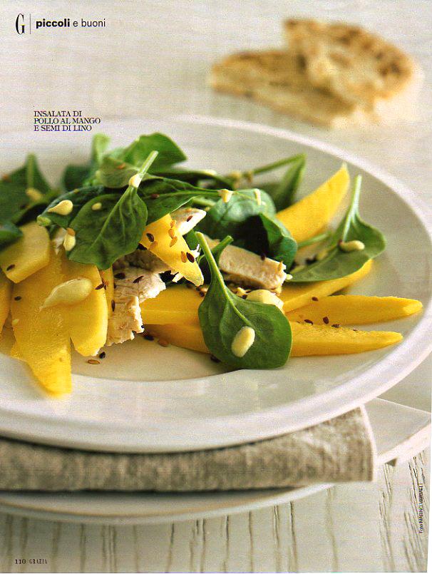 Insalata di pollo, mango e semi di lino | ©foto Marino Visigalli
